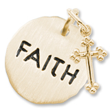 10K Gold Faith Charm Tag with Cross by Rembrandt Charms