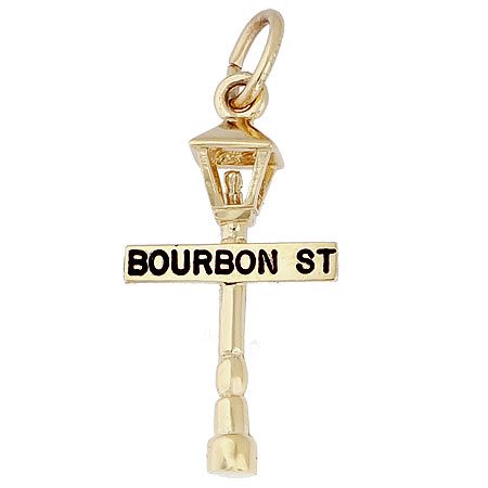 10K Gold Bourbon Street Lamp Charm by Rembrandt Charms