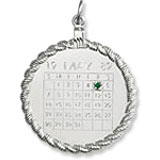 14k White Gold Calendar with Rope Frame Charm by Rembrandt Charms