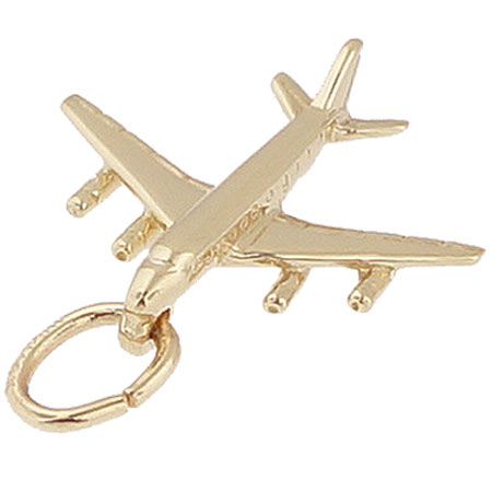 10K Gold DC 8-707 Jet Plane Charm by Rembrandt Charms
