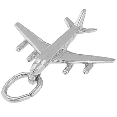 14K White Gold DC 8-707 Jet Plane Charm by Rembrandt Charms