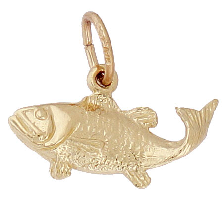 Gold Plate Bass Fish Charm by Rembrandt Charms