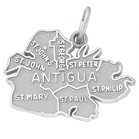 Sterling Silver Antigua Island Map Charm by Rembrandt Charms