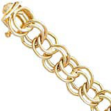 10K Gold Charm Bracelet Large Double Link 7""