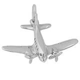 14K White Gold DC-3 Vintage Plane Charm by Rembrandt Charms