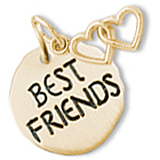 10K Gold Best Friends Charm Tag & Hearts by Rembrandt Charms