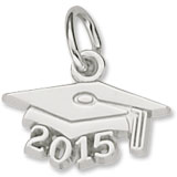 14k White Gold Grad Cap 2015 Accent Charm by Rembrandt Charms