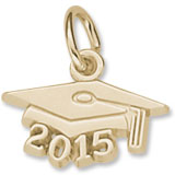 Gold Plate Grad Cap 2015 Accent Charm by Rembrandt Charms