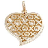 Gold Plated Hugs and Kisses Heart Charm by Rembrandt Charms