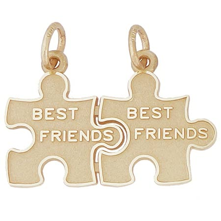 Gold Plated Best Friend Puzzle Pieces Charm by Rembrandt Charms
