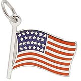 14k White Gold USA Flag Charm by Rembrandt Charms