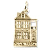 Gold Plate Charleston Row House Charm by Rembrandt Charms