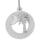 Sterling Silver South Carolina Palm and Moon Charm by Rembrandt Charms
