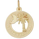 14k Gold South Carolina Palm and Moon Charm by Rembrandt Charms