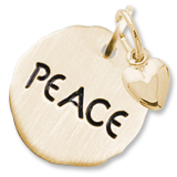10K Gold Peace Charm Tag with Heart by Rembrandt Charms