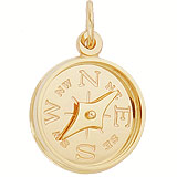 Gold Plate Compass with Needle Charm by Rembrandt Charms