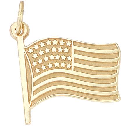 10K Gold USA Flag Charm by Rembrandt Charms