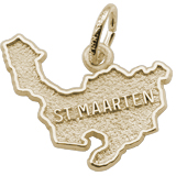 14K Gold St. Maarten Island Map Charm by Rembrandt Charms