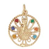 Gold Plated Peacock Bird Charm by Rembrandt Charms