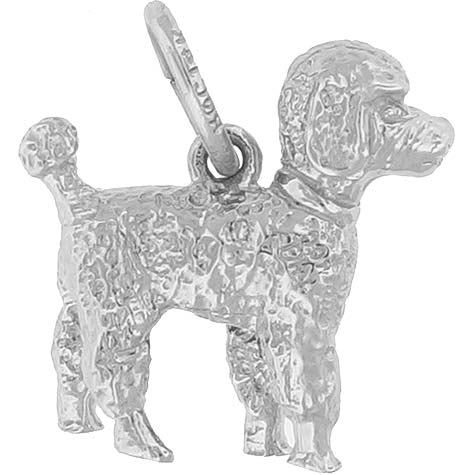 14K White Gold Small Poodle Dog Charm by Rembrandt Charms