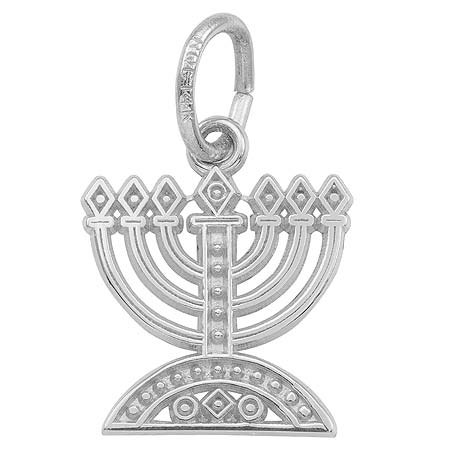 14K White Gold Menorah Charm by Rembrandt Charms