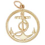 14K Gold Ships Anchor in a Rope Charm by Rembrandt Charms