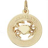 Gold Plated Maryland Crab Charm by Rembrandt Charms