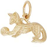 Gold Plated Playful Cat Charm by Rembrandt Charms