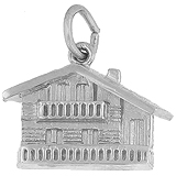 14K White Gold Swiss Chalet Charm by Rembrandt Charms