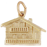 Gold Plate Swiss Chalet Charm by Rembrandt Charms
