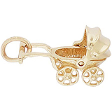10K Gold Canopy Baby Carriage Charm by Rembrandt Charms
