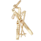 Gold Plate Downhill Skis with Poles Charm by Rembrandt Charms
