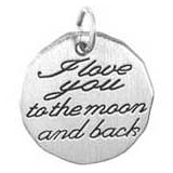 I love you to the moon and back charm tag.