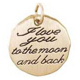 Gold Plate I love you to the moon Charm by Rembrandt Charms