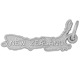 14k White Gold New Zealand Map Charm by Rembrandt Charms