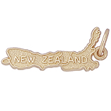 Gold Plated New Zealand Map Charm by Rembrandt Charms