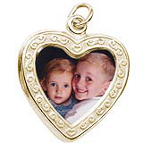 Gold Plated Heart Scroll PhotoArt® Charm by Rembrandt Charms