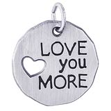 14K White Gold Love You More Charm Tag by Rembrandt Charms