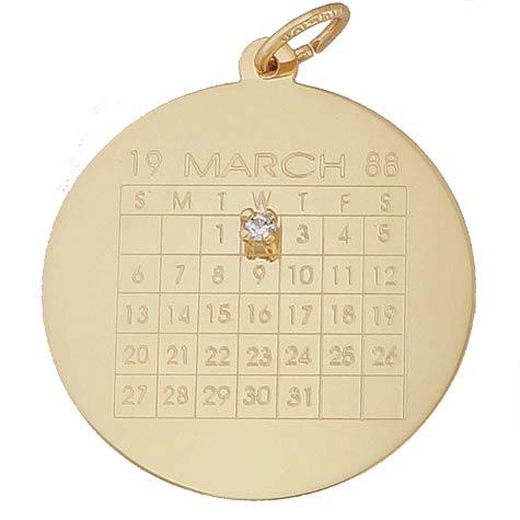 14K Gold Diamond Calendar Charm by Rembrandt Charms