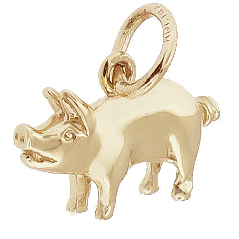Gold Plate Small Pig Charm by Rembrandt Charms
