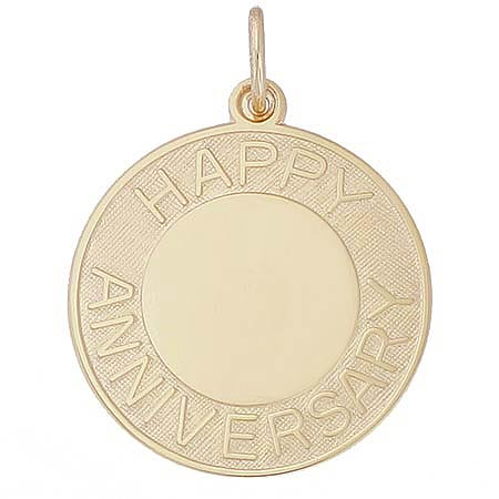 Gold Plated Happy Anniversary Disc Charm by Rembrandt Charms