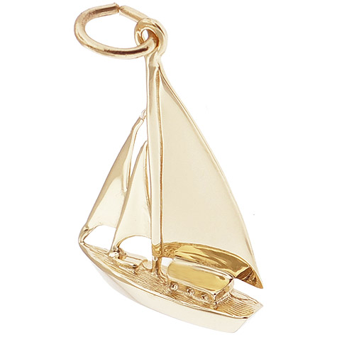 14K Gold Cutter Sailboat Charm by Rembrandt Charms