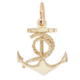 10K Gold Ships Anchor Charm with Rope by Rembrandt Charms