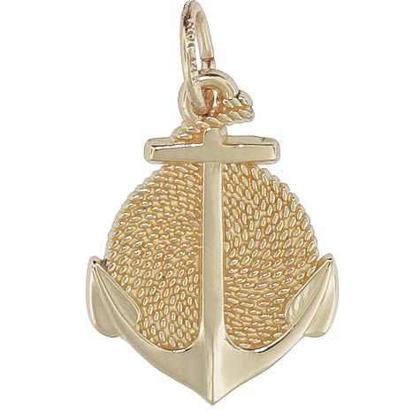 Gold Plate Rope Circle Anchor Charm by Rembrandt Charms