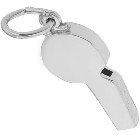 14K White Gold Referees Whistle Charm by Rembrandt Charms