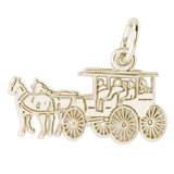 14K Gold Flat Horse and Carriage Charm by Rembrandt Charms