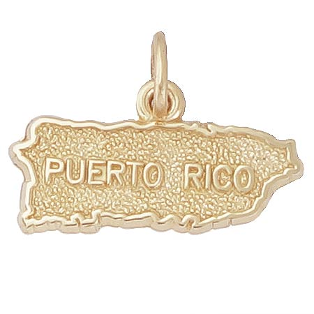 14K Gold Puerto Rico Map Charm by Rembrandt Charms