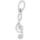 14K White Gold Treble Clef Accent Charm by Rembrandt Charms