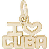 14K Gold I Love Cuba Charm by Rembrandt Charms