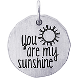 14K White Gold You are my Sunshine Charm Tag by Rembrandt Charms